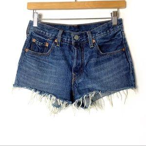 LEVI'S 501 Cut Off Raw Hem Jean Shorts Button Fly